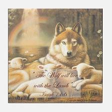 """Peaceful Dwelling"" Art Wolf & Lamb Tile Coaster"