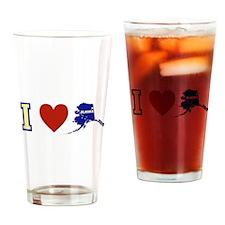 I Love Alaska Drinking Glass
