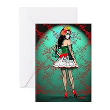 Dia De Los Muertos Stockings Pin-up Greeting Cards