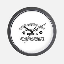 Snowshow designs for the cat lover Wall Clock