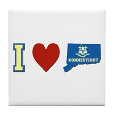 I Love Connecticut Tile Coaster