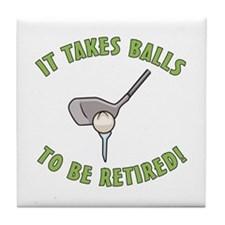 Funny Retired Golfer Tile Coaster