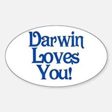 Darwin Loves You Oval Decal
