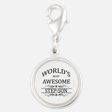 World's Most Awesome Step-Son Silver Round Charm
