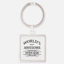 World's Most Awesome Step-Son Square Keychain