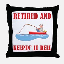 Funny Fishing Retirement Throw Pillow