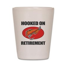 Retired Fishing Humor Shot Glass