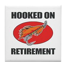 Retired Fishing Humor Tile Coaster