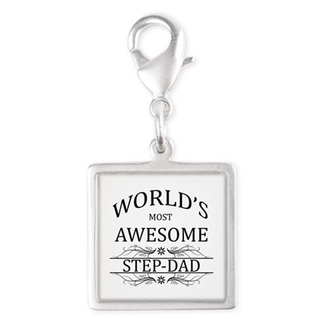 World's Most Awesome Step-Dad Silver Square Charm