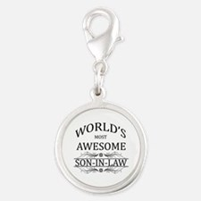 World's Most Awesome Son-in-Law Silver Round Charm