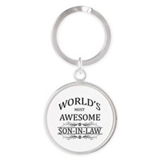 World's Most Awesome Son-in-Law Round Keychain