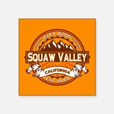 "Squaw Valley Tangerine Square Sticker 3"" x 3"""