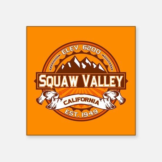 "Squaw Valley Tangerine Square Sticker 3"" x 3"""