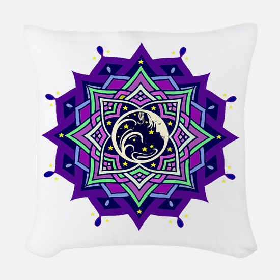 Lady in the Moon Woven Throw Pillow