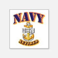 "NAVY - SCPO - Retired Square Sticker 3"" x 3"""