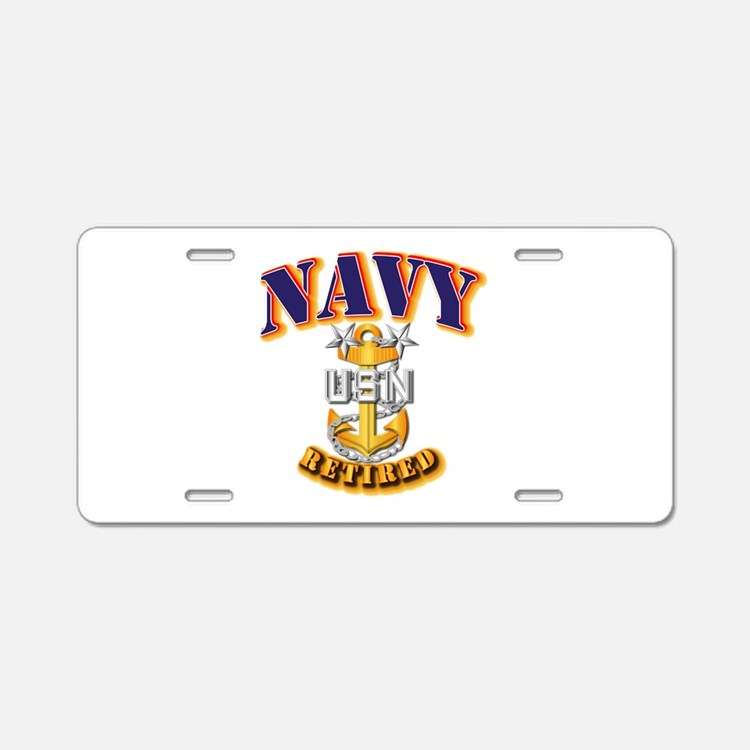 NAVY - MCPO - Retired Aluminum License Plate