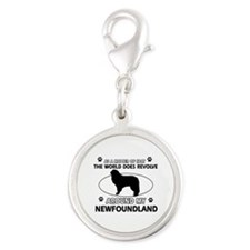NewFoundland Dog breed designs Silver Round Charm