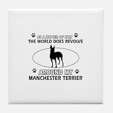 Manchester Terrier Dog breed designs Tile Coaster