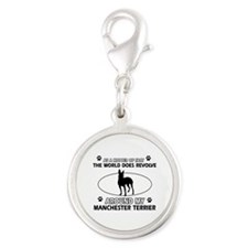 Manchester Terrier Dog breed designs Silver Round