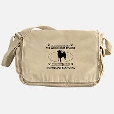Norwegian Elkhound Dog breed designs Messenger Bag