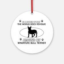 Miniature Bull Terrier Dog breed designs Ornament