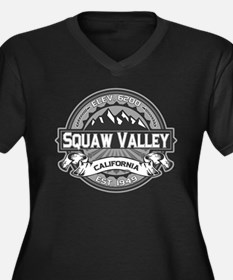 Squaw Valley Grey Women's Plus Size V-Neck Dark T-
