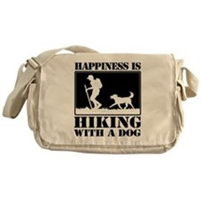 Happiness is Hiking with a Dog Messenger Bag