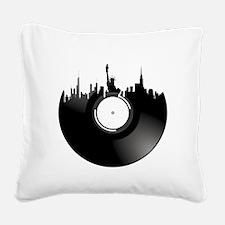 New York City Vinyl Record Square Canvas Pillow