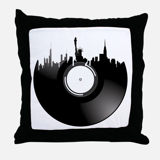 New York City Vinyl Record Throw Pillow