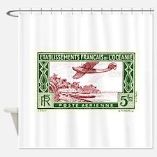 Antique 1934 Tahiti Seaplane Postage Stamp Shower