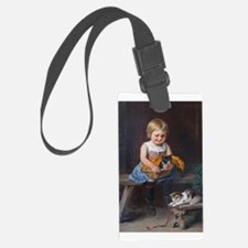 Little Girl An Kittens Luggage Tag
