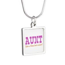 Aunt Like a Mom but Cooler Silver Square Necklace