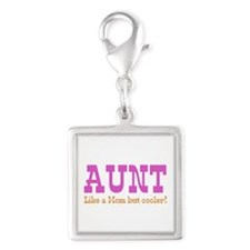Aunt Like a Mom but Cooler Silver Square Charm