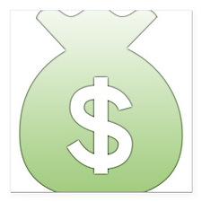 "Money Bag Square Car Magnet 3"" x 3"""
