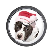 Christmas American Pit Bull Terrier Wall Clock