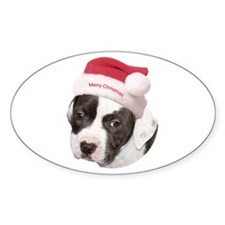 Christmas American Pit Bull Terrier Oval Decal