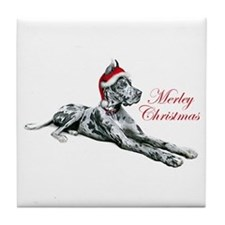 Great Dane Merley Christmas Tile Coaster