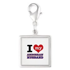 I love my Andorran Husband Silver Square Charm