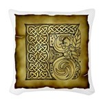 Celtic Letter F Woven Throw Pillow