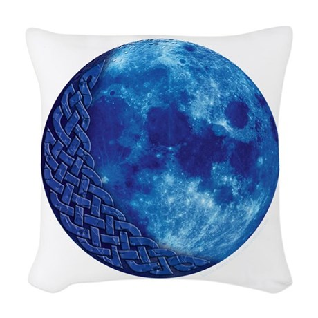 Celtic Blue Moon Woven Throw Pillow by artoffoxvox