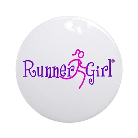 runnergirl heart ornament round