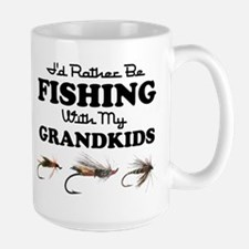 Rather Be Fishing Grandkids Large Mug