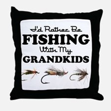 Rather Be Fishing Grandkids Throw Pillow