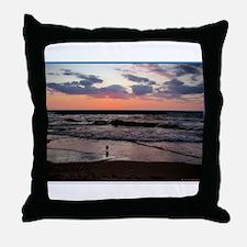 Sunset, seagull, photo! Throw Pillow