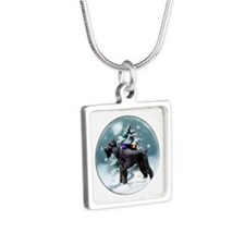 Giant Schnauzer Christmas Silver Square Necklace