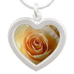Apricot Colored Rose Silver Heart Necklace