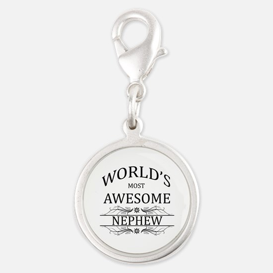 World's Most Awesome Nephew Silver Round Charm