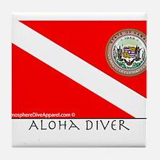 Aloha Scuba Diver Down Flag Tile Coaster