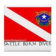 Nevada Battle Born Scuba Diver Flag Tile Coaster