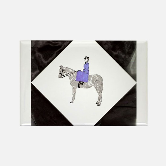 Hand Painted SideSaddle Rider Rectangle Magnet